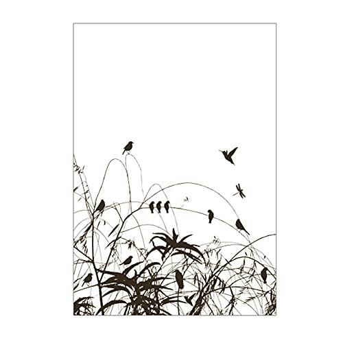 WSWJDW Pegatinas autoadhesivas de películas de vidrieras de árboles de aves en películas decorativas Diseños de películas de vidrio esmerilado Películas para ventanas para decoración del hogar, estil