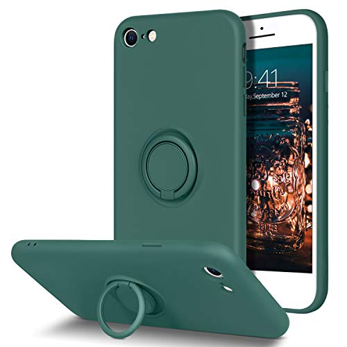 BENTOBEN - Carcasa para iPhone SE 2020, funda de silicona líquida, forro de microfibra suave, ultrafina, TPU flexible, soporte redondo, protección para iPhone 7/8/SE, color verde
