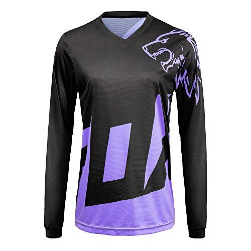 Camiseta de manga larga para mujer, transpirable, absorbe la humedad, Negro púrpura, M