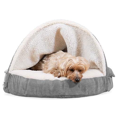 Furhaven Memory Foam Pet Bed for Dogs and Cats - Sherpa and Suede Snuggery Blanket Burrow Nest Dog Bed with Removable Washable Cover, Gray, 26-Inch