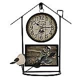 PERFECTHA Reloj De Pared Retro Pájaro Marco De La Foto Reloj De Pared Hierro Forjado Reloj De Jaula De Pájaros Números De Gran Tamaño Adornos De Accesorios para El Hogar para Oficina, Aula, Relaxing