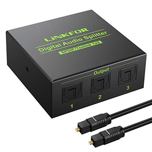 LiNKFOR 1X3 Splitter Ottico Audio 3 Porte 5.1CH SPDIF Splitter Digitale 1 In 3 Out Supporta Dolby AC3 DTS Splitter Toslink in Lega Alluminio con Cavo Ottico per PS3 DAC Blu-Ray DVD TV HDTV