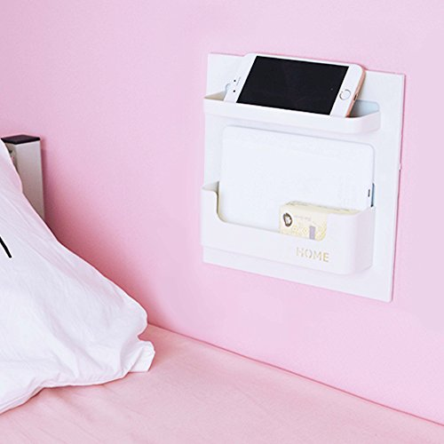 Bedside Shelf Accessories Organizer- Wall Mount Self Stick On,Ideal for Glasses,Remote,Earphone, Cell Phone Charger,Manicure Kit