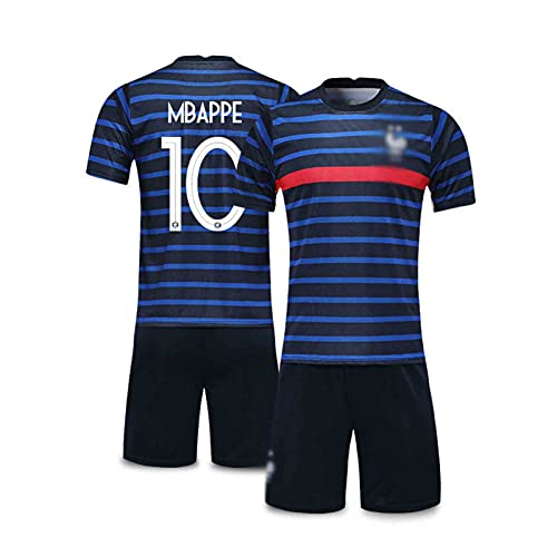 HSDJ 2021 MBAPPÉ Francia Inicio y Jersey de fútbol, Traje de Adulto y niños, Transpirable y Secado rápido Blue Black 10-L