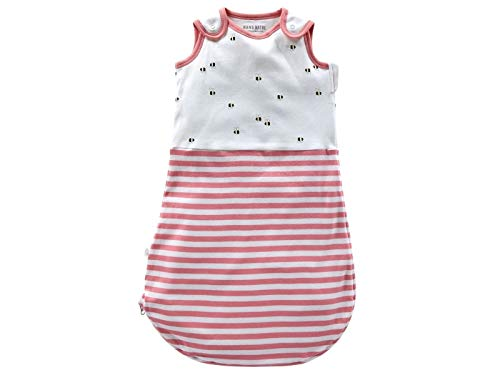 Bio Baby Schlafsack ohne Arm 100% Bio-Baumwolle (kbA) GOTS zertifiziert, Rosa Off-White, 62/68