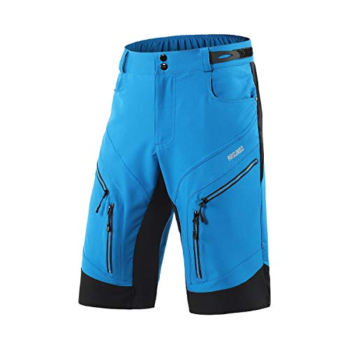ARSUXEO Men's Loose Fit Cycling Shorts MTB Bike Shorts Water Ressistant 1903 Blue Size Medium