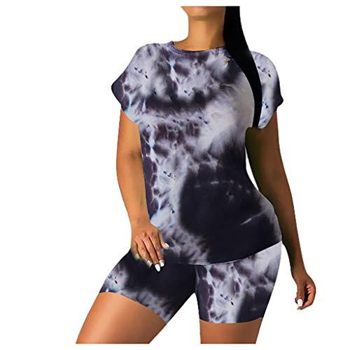 Sommer Batik Trainingsanzug Damen Kurzarm T-Shirts Shorts Freizeit 2-teilig Anzüge GeatestPAK,Schwarz,L