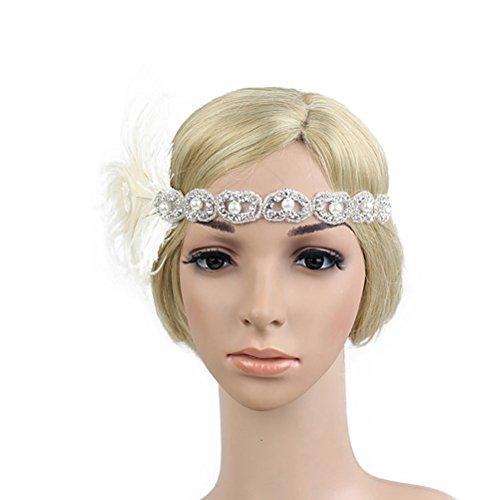 LUOEM Plumes Bandeau Gatsby Flapper des Années 20 Bande Paillette Strass pour Femmes (Blanc)