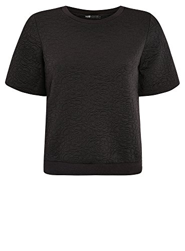 oodji Collection Femme Sweat-Shirt Reliéfé Manche Courte, Noir, FR 38 / S