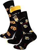 Vincent Creation 3 Paar Bunte Lustige Socken, Damen und Herren Fun Socks, Witzige Strümpfe mit Bier, Pommes, Burger usw. als Geschenk, Einheitsgrösse 41-45