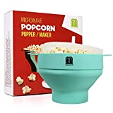 MUGOOLER Microwave Popcorn Popper Silicone Popcorn Maker, Collapsible Bowl with Lid BPA Free (Light Blue)