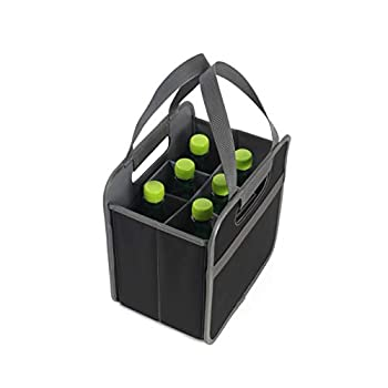 Earthwise Foldable 6 Bottle Wine Bag Carrier Collapsible Foldable Liquor Grocery Shopping Heavy Duty Durable Nylon Construction  2 Pack