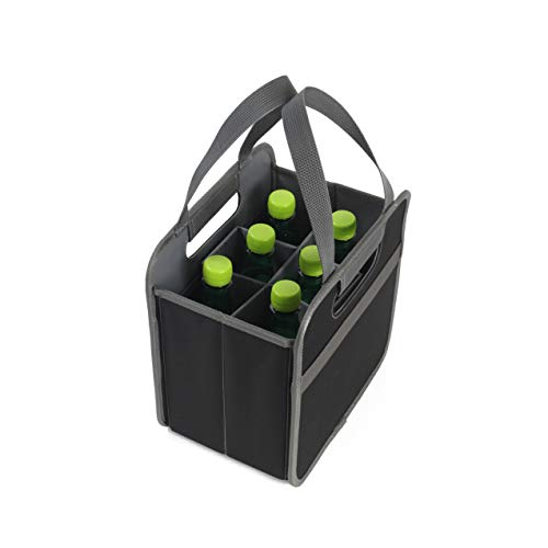 Earthwise Foldable 6 Bottle Wine Bag Carrier Collapsible Foldable Liquor Grocery Shopping Heavy Duty Durable Nylon Construction (2 Pack )
