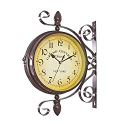 Homello Vintage Double Sided Wall Clock Iron Metal Silent Quiet Grand Central Station Wall Clock Art Clock Decorative Double Faced Wall Clock 360 Degree Rotate Antique Wall Clock