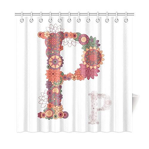 Cortina de decoración para el hogar para ventana de baño Pacífica libre de inglés Letra P Tejido de poliéster Cortinas de ventana de baño impermeables Cortas para baño 72 * 72 pulgadas (183 X 183 cm)
