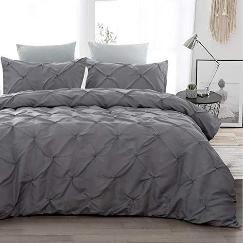 WONGS BEDDING Pinch Pleat Duvet Cover Set 3-Piece Duvet Cover Set Microfibre Duvet Cover with Zip, dark grey, 155x220cm