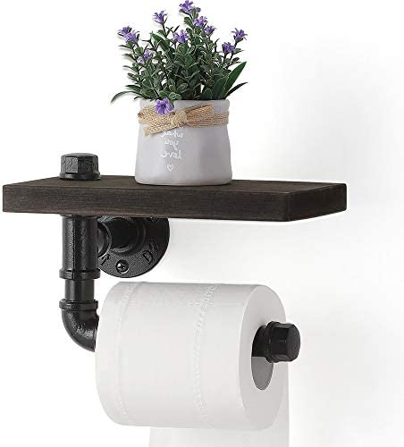 Toilet Paper Holders Industrial Paper Tower Holder Wall Mount with Wood Shelf Storage for Bathroom product image