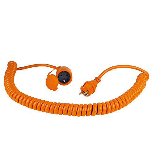 as - Schwabe Baustellen-Spiralleitung 230 V / 16 A – Robuste Schutzkontakt-Spiralleitung, dehnbar von 1 bis 5 m – Verlängerungskabel mit Stecker & Kupplung – IP44 – Made in Germany – Orange I 70413