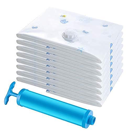 wscmd - Pack de 6 bolsas de almacenamiento al vacío - 2 Jumbo + 2 extragrandes + 2 bolsas de compresión medianas y bomba de colchón, tienda de campaña