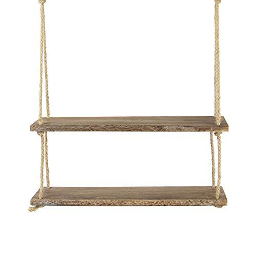 Estante colgante de madera | Estantería de cuerda montada en la pared | Estante Boho Chic | Repisa rústica de cuerda de yute | Accesorios incluidos | M&W 2 Tier