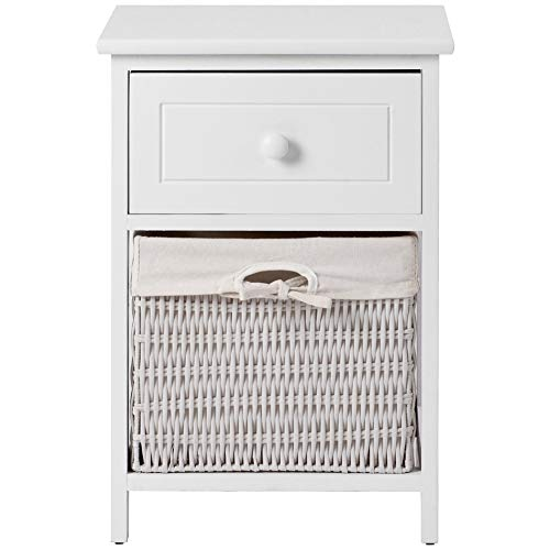 QINREN Bedside Table White Wooden Night Stand Storage Unit Cabinet with Drawer and Removable Wicker Woven Basket for Bedroom Living Room No Assembly Required
