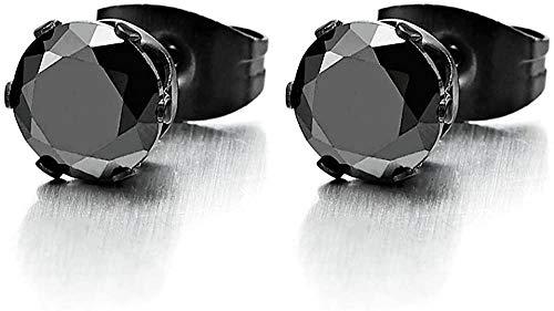 3-8MM Negro Zirconia cúbica Hombres Damas Negro Pendientes de botón Acero Inoxidable 1 par-Piedra_Tamaño: _5MM