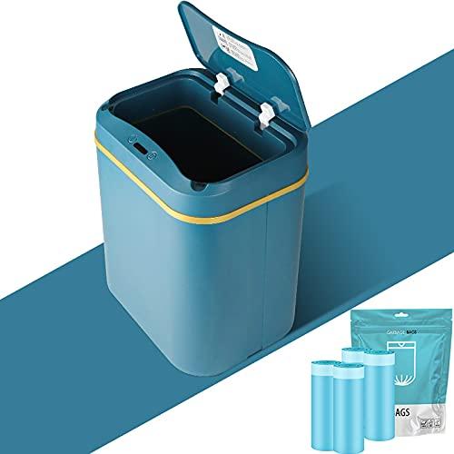 12L- Badezimmer Sensor Mülleimer Geruchsdicht, Mülleimer Küche mit Sensor, Automatischer Mülleimer Büro,Inklusive Batterie und 60 Müllbeutel mit Kordelzug, Kunststoff (ABS+PP) (Blau)