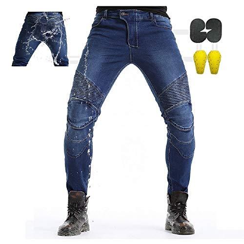 CBBI-WCCI Hombre Pantalones Mmpermeables para Moto Motocicleta Pantalones Moto Jeans con Motorcycle Biker Pants (Azul, 28W / 31L)