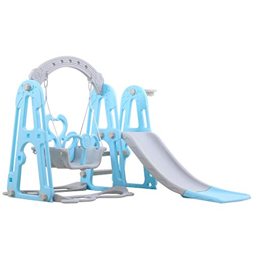 Climber and Swing Set for Kids, 4 in 1 Climber Slide Playset with Basketball Hoop, Swing and Plastic Play Slide Climbing Ride for Kids 1-2 Years Old, Indoor Outdoor Playground Toy (Blue)