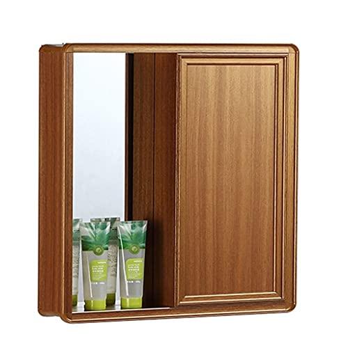 Spazio in Alluminio Nascosto Feng Shui Specchio Armadio A Parete Bagno Mensola Bagno, Porta Scorrevole Nascosta, Scatola Specchio Nascosta A Parete Wall (Color : Wood, Size : 60 * 13 * 67cm)