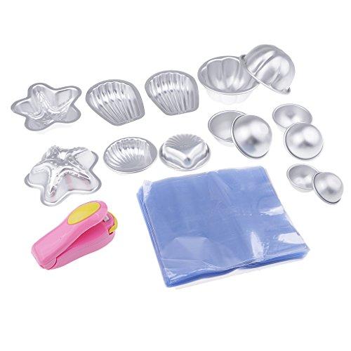 MagiDeal 7pcs Moule en Aluminium avec Sac d'emballage et Mini Machine à Capper pour Savon de Bain DIY Fabrication de Savon/Pâte à Sucre/Pâtisserie/Décoration de Fondant
