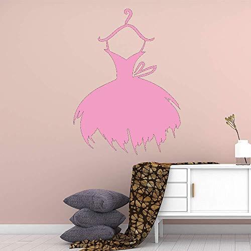 ShiyueNB Muurstickers voor meisjes, met rok en kleerhanger, afneembaar, voor in de slaapkamer, kinderkamer, decoratie 42x57cm