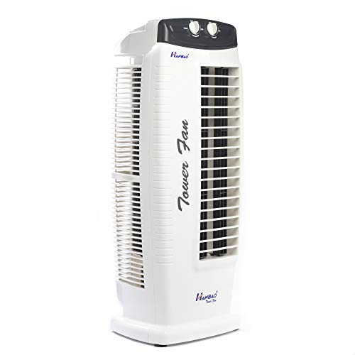 Hanbao Tower Fan with TOP safety & 3 Speed - 2 Way Auto Air Deflection & High air throw of 2250 m3/hr, REGULAR