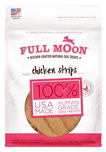 Full Moon All Natural Human Grade Dog Treats, Chicken Strips, 12.5 Ounce