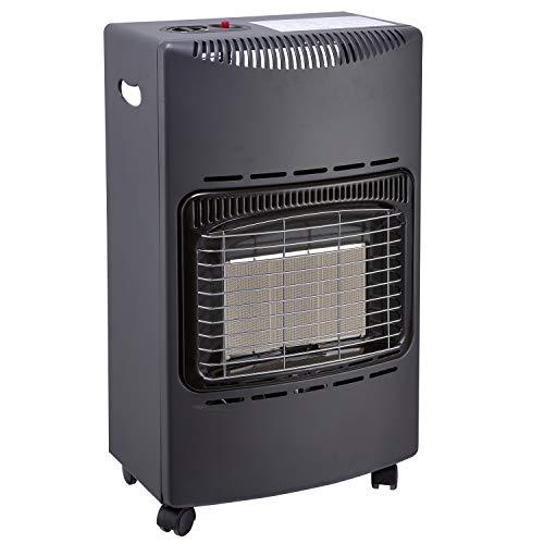 Favex 8630047 Chauffage d'appoint gaz 4200-Prêt à l'emploi livré avec Tuyau et détendeur-Intérieur-Brûleur céramique Infrarouge-3 Puissances de Chauffe-jusqu'à 40 m², Acier, Noir