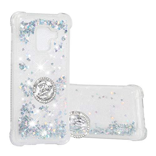Hülle für Samsung Galaxy A8 (2018) Diamant Ring Flüssig Treibsand Silikon TPU Bumper Hülle für Samsung Galaxy A8 (2018)(Silber)