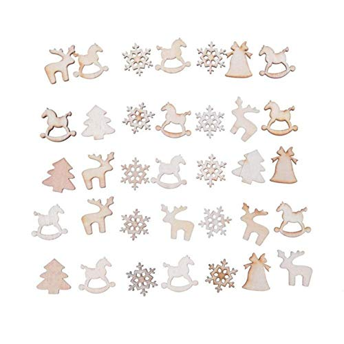 WSJKHY 60-delig/pakket Kerstmis knippen natuurlijke houten chip ornamenten kerstboom hangers ornament nieuwe mode handwerk