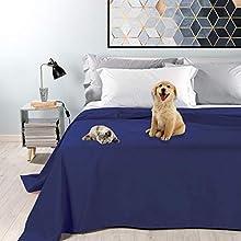 Byour3® Colcha Impermeable para Cama De Matrimonio Tela Decorativa De Algodón Antimanchas Lavable Resistente Manta Antipelo Animales Gatos Perros Arañazos (Azul Real, 180 x 300 cm Cama 90)