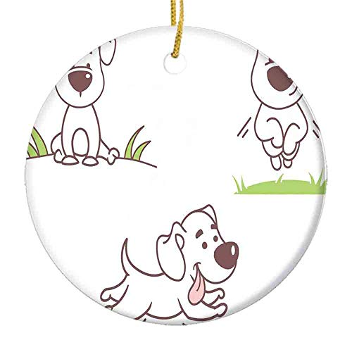 9 shbixmashdho Christmas Ornaments|Playful Dog Running on Grass Field Cheerful Pet Childish Park SceneryCeramic Ornament|Holiday Xmas Tree Decorations Ornament|Cute Ceramic 2.85in