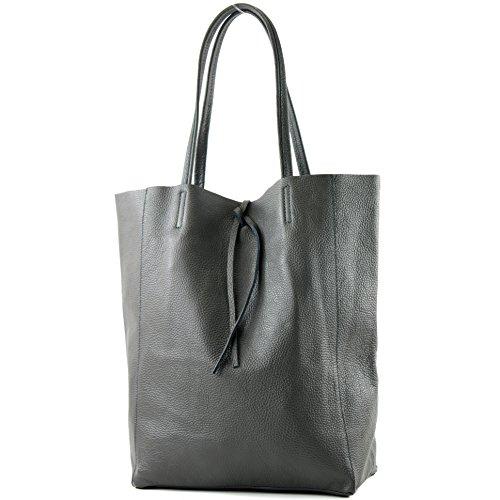 modamoda de - T163 - Ital. Shopper Large mit Innentasche aus Leder, Farbe:Dunkelgrau