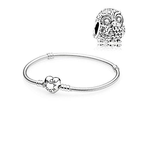 Pandora Geschenkset Starterset Eule Charm & Armband Herz 590719 + 791966 (19)