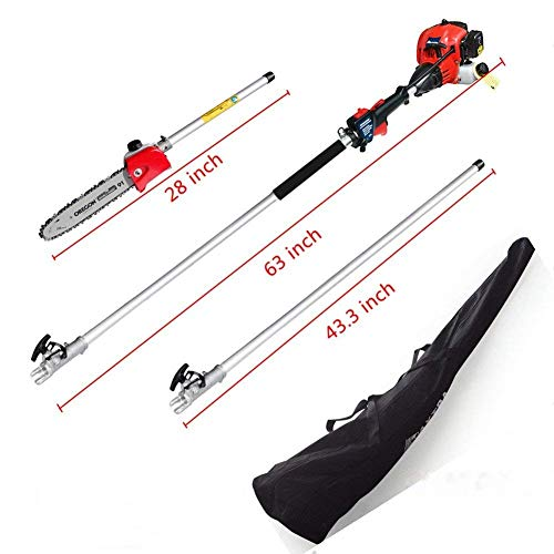 Pole Saw,Powerful Gas Pole Chainsaw 42.7CC 2-Cycle 8.2 FT to 11.4 FT Cordless...