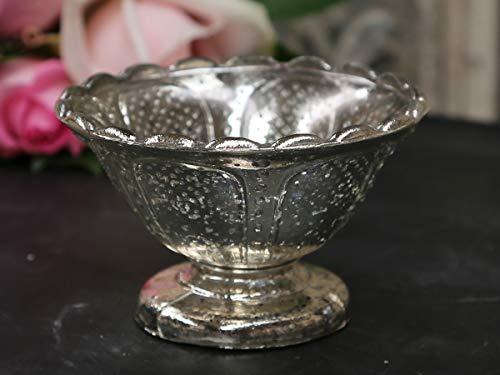 Chic Antique Teller mit Fuß Schale Vase Bauernsilber Silber Glas Ornamente Antiksilber Shabby Chic French Chic Landhaus Vintage