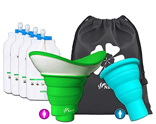 NAXER Urinal for Women Female Urination Device with Male Urinal and Travel Disposable Urinal Bags Portable Wee Set Collapsible Luggable Loo Pee Funnel for Women n Men Camping Hiking Kayak Car Outdoor