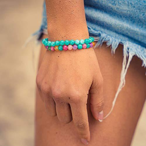 Made by Nami Chakra Yoga Armband 2er Set Damen & Herren - 6mm Perlen-Armband aus dem Zen-Buddhismus für Familie und Freunde - Tantrische-Schutzwirkung, Glücksbringer, Talisman (Türkis/Bunt)