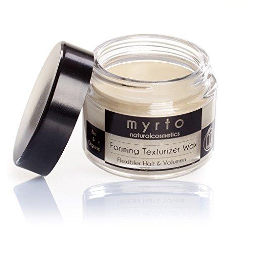 myrto – Bio Forming Texturizer Wax | Argan Styling Haar-Wachs matt - Volumen und flexibler Halt - ohne Silikone - Naturkosmetik - Glastiegel - 50 ml