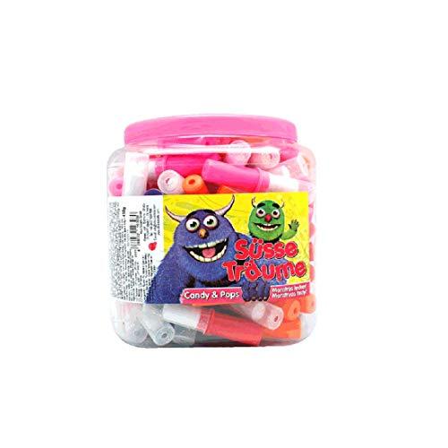 100 Stk. Candy Lipstick süße Lippenstifte Lutscher Lollies In wiederverschließbarer Kunststoffdose