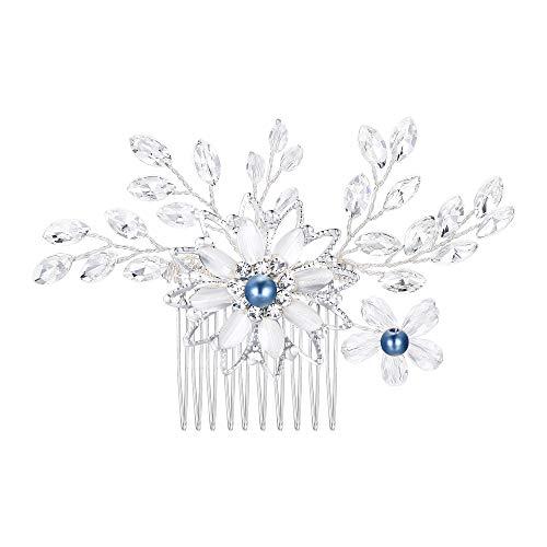 Clearine Accessori capelli Matrimonio Sposa Pettine per capelli Blu Perla simulata Cristallo Smalto Foglia Marquise fiore Trasparente Argento-fondo