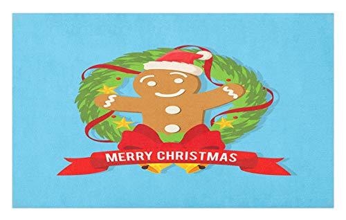 ABAKUHAUS Navidad Tapete, Galleta de Jengibre de la Guirnalda, Decorativo con Fieltro de Poliéster Estampado Base Antideslizante, 45 cm x 76 cm, Cielo Azul Multicolor