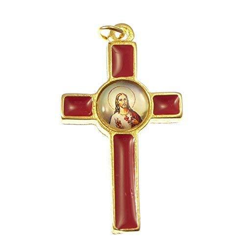 Katholische Rosenkranz Kreuz Kruzifix mit dem Bild des Heiligen Herzens Jesus - rot 36mm